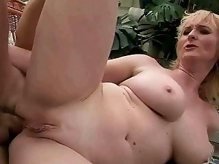 Chesty grandma enjoys anal..