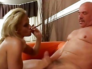 Hot Blond Stroking And Smoking